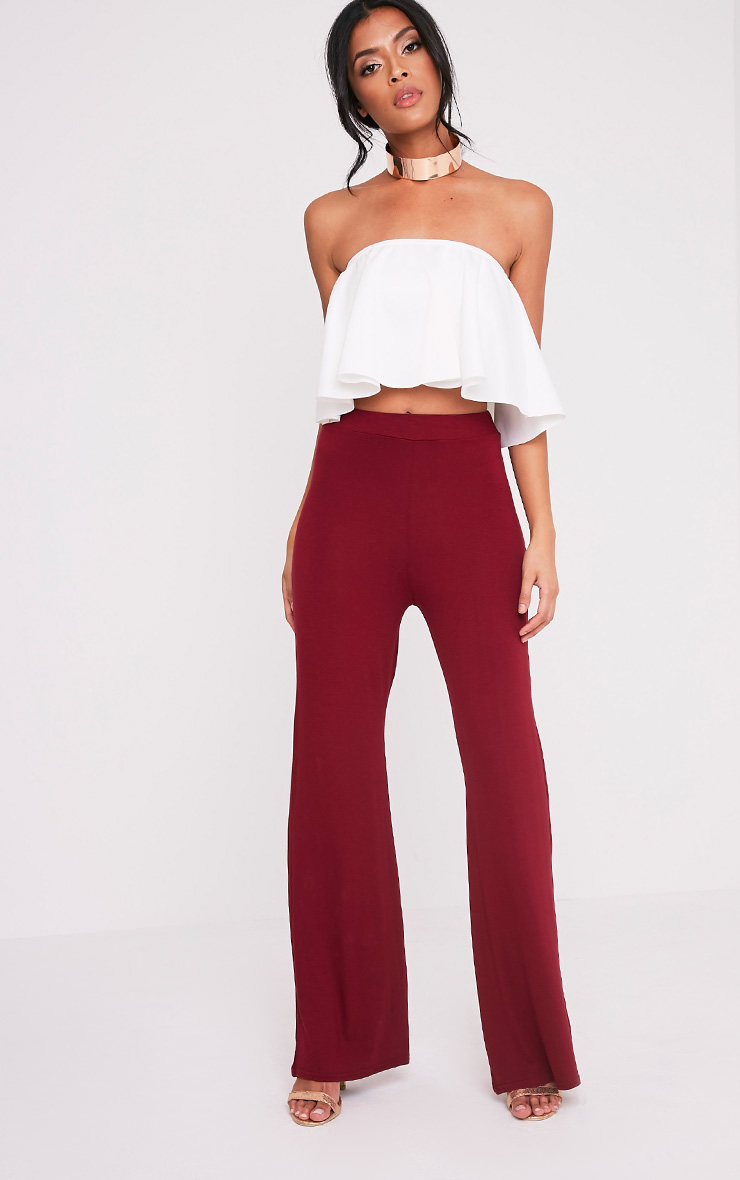 Basic Burgundy Jersey Wide Leg Trousers