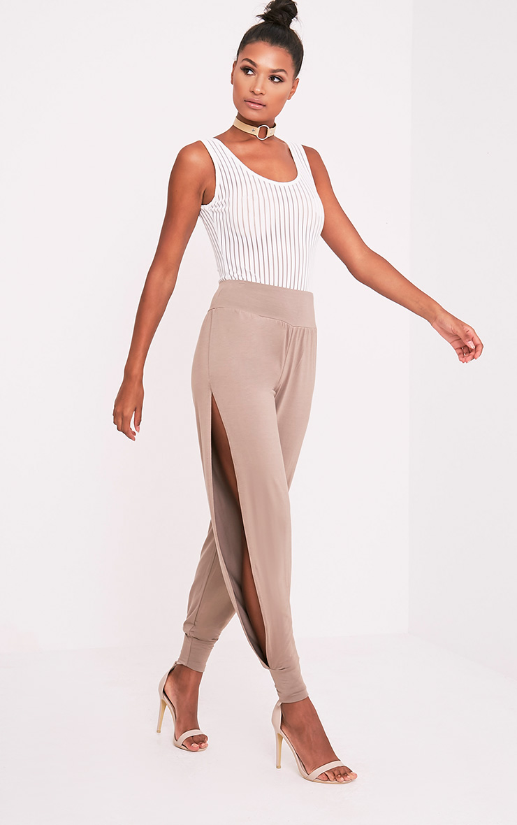 Chasity Taupe Split Side Jersey Trousers
