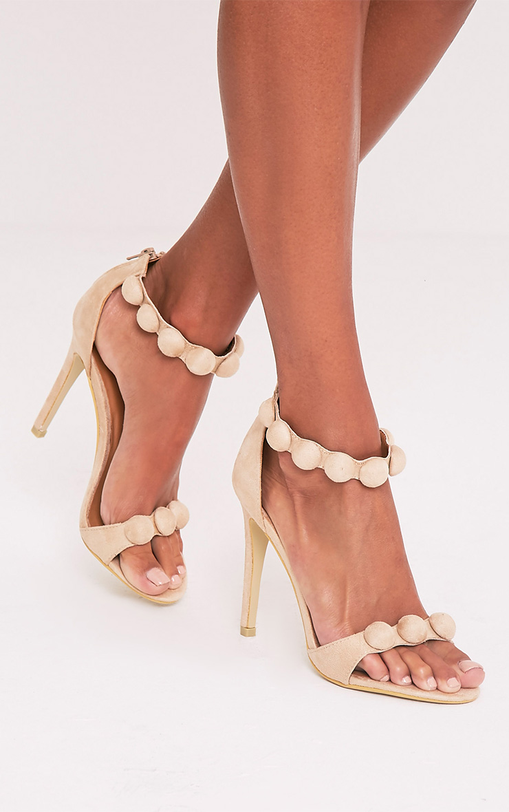 Una Cream Suede Studded Strappy Heeled Sandal