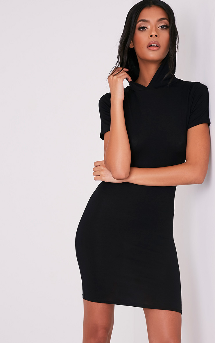 Ruby Black Jersey Hooded Short Sleeve Bodycon Dress