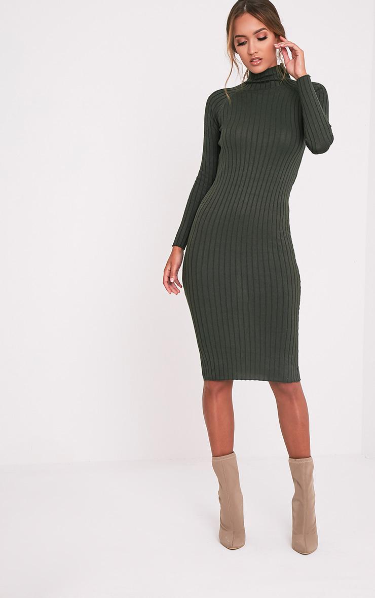 Katalina Khaki Wide Ribbed Knitted Midi Dress