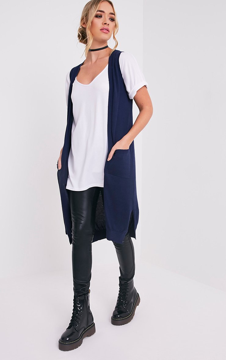Arlais Navy Long Line Fine Knit Cardigan