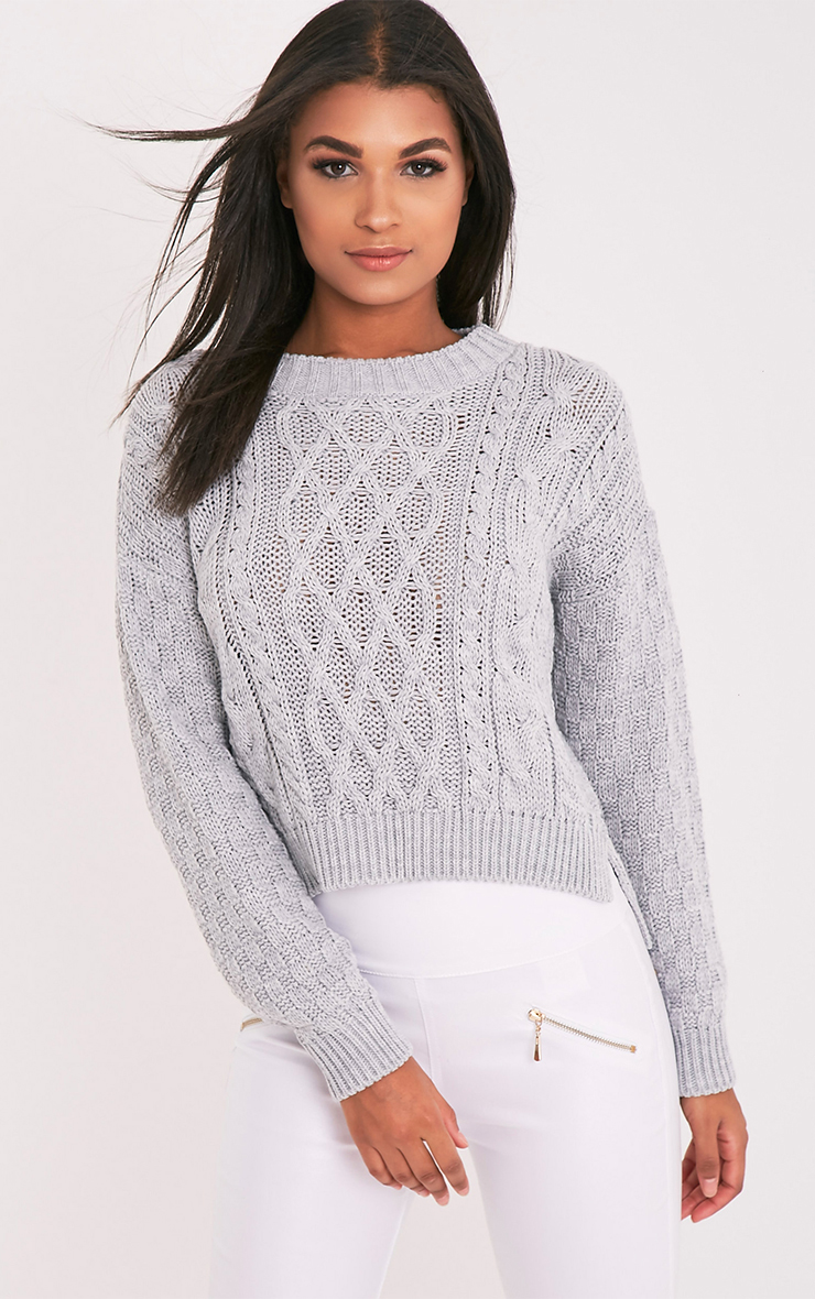 Chyanne Grey Cable Knit Jumper