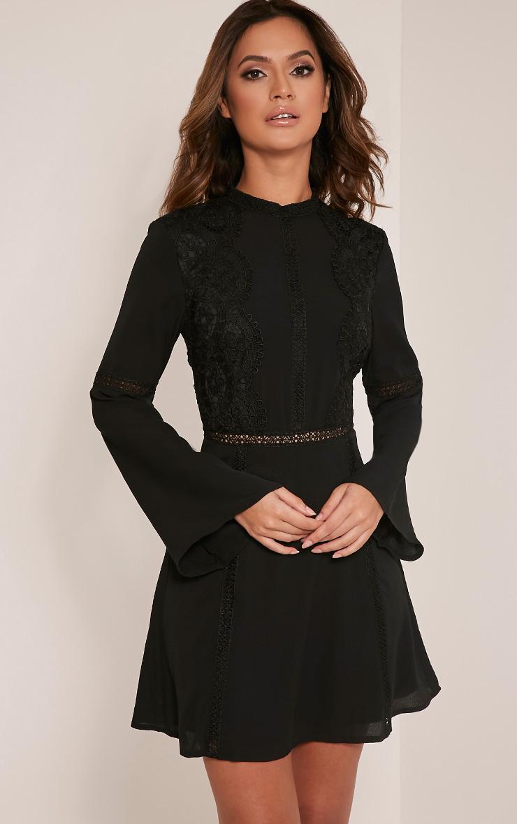 Sian Black Lace Detail Skater Dress