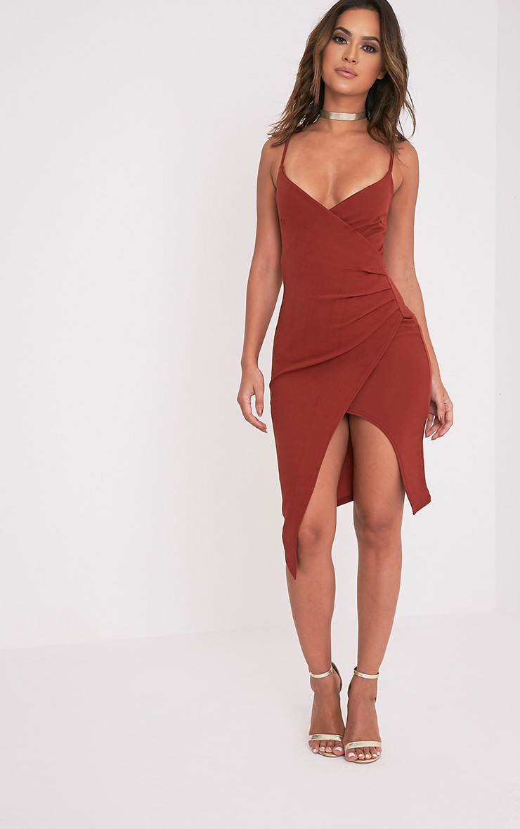 Lauriell Tobacco Wrap Front Crepe Midi Dress