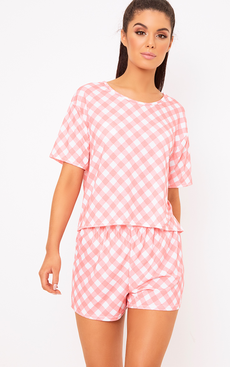 Onesies nightwear clothing prettylittlething for Pink gingham shirt ladies