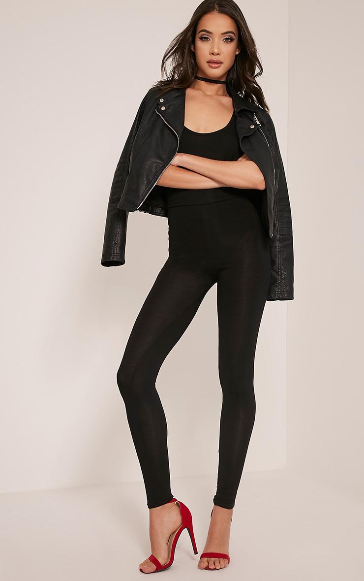 Basic Black High Waisted Jersey Leggings
