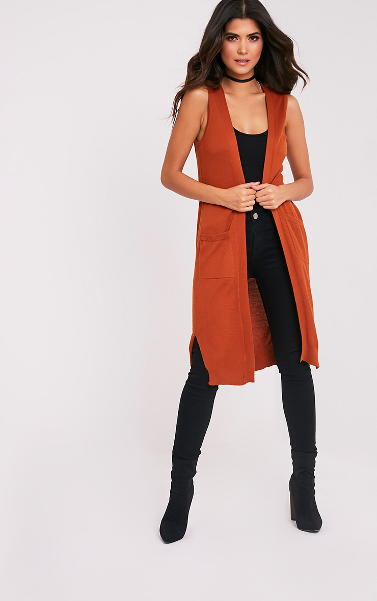 Arlais Orange Long Line Fine Knit Cardigan