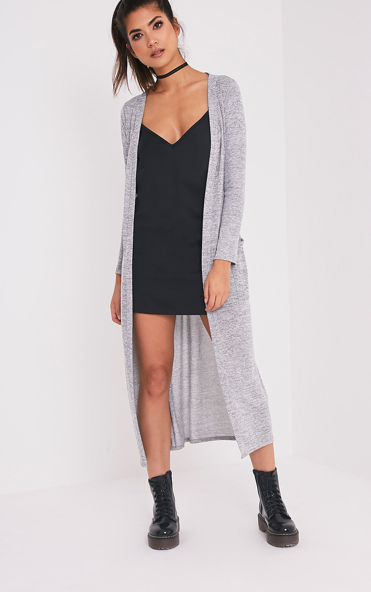 Eirlys Grey Waterfall Midi Cardigan