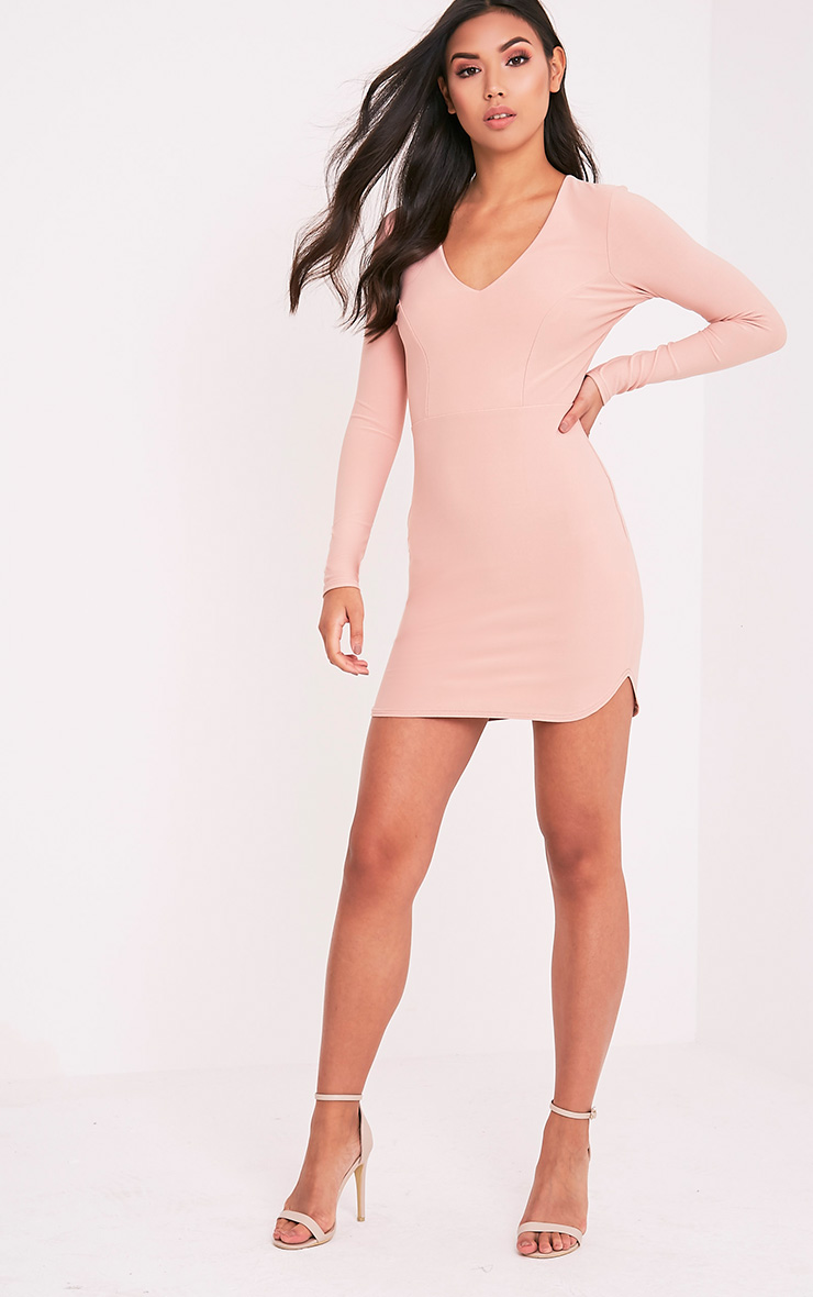 Shylo Blush Long Sleeve Plunge Bodycon Dress