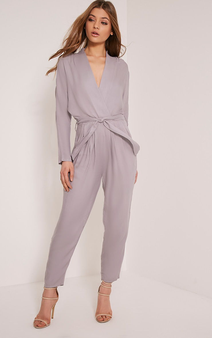Briana Grey Wrap Jumpsuit