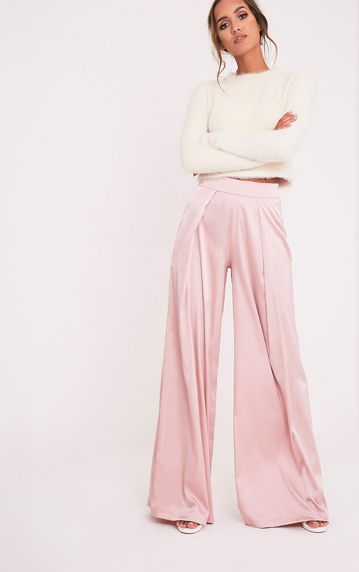 Dasia Dusty Pink Satin Pleated Wide Leg Trousers