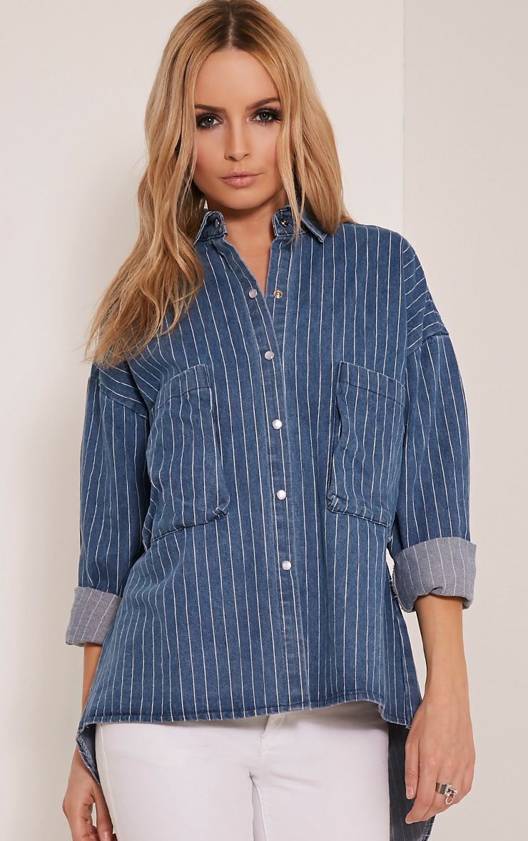 Maribelle Light Wash Stripe Denim Shirt