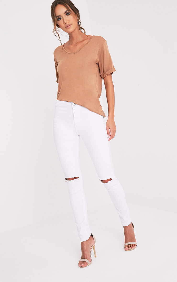 Basic Camel V Neck Oversized T-Shirt