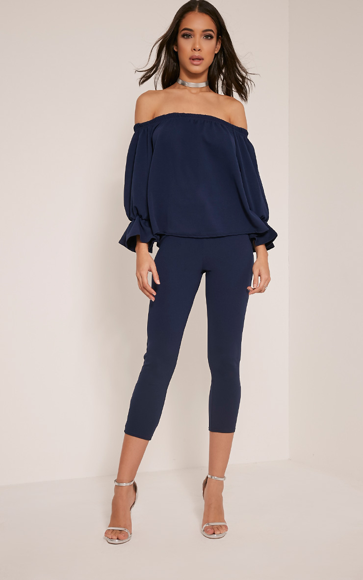 Evalyn Navy Cropped Trousers