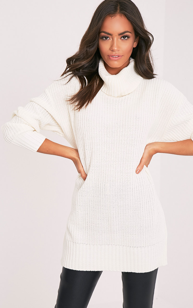 Zora Cream Oversized Turtle Neck Knitted Jumper