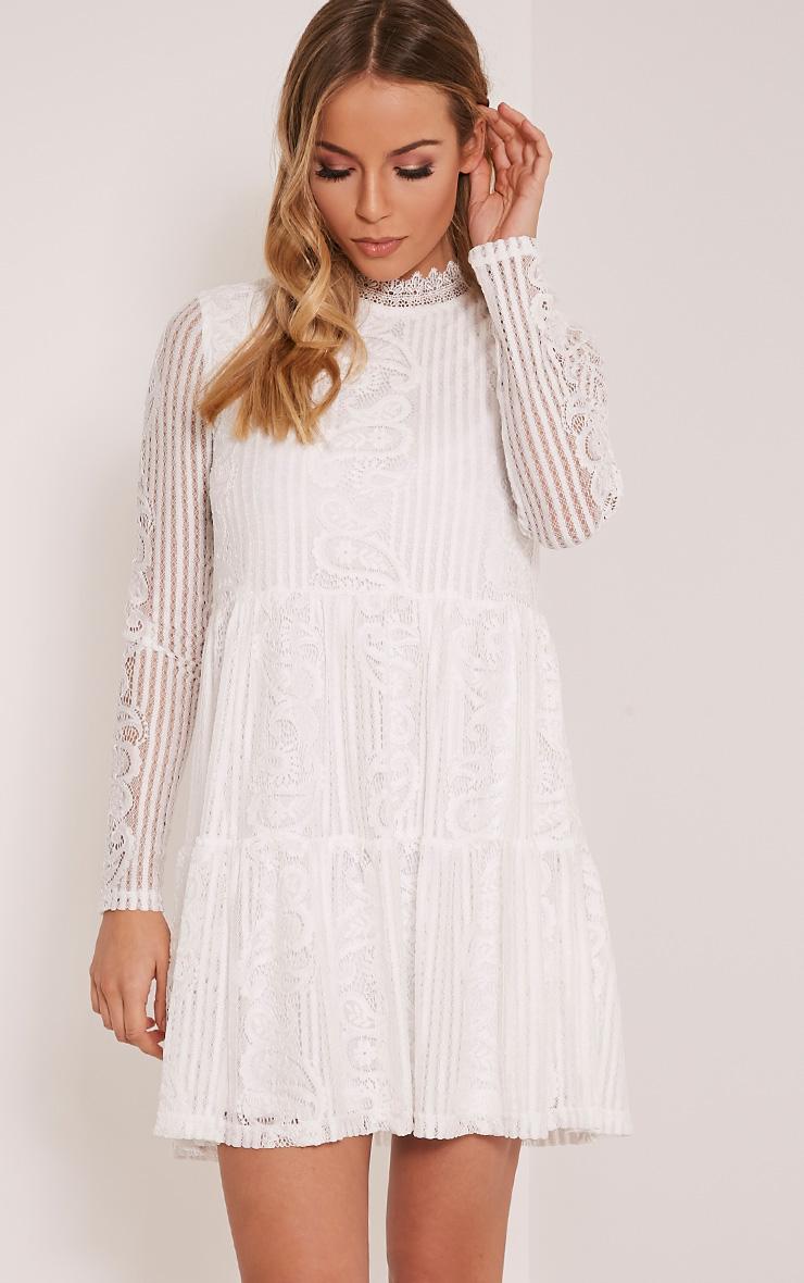 Saffron White High Neck Lace Skater Dress