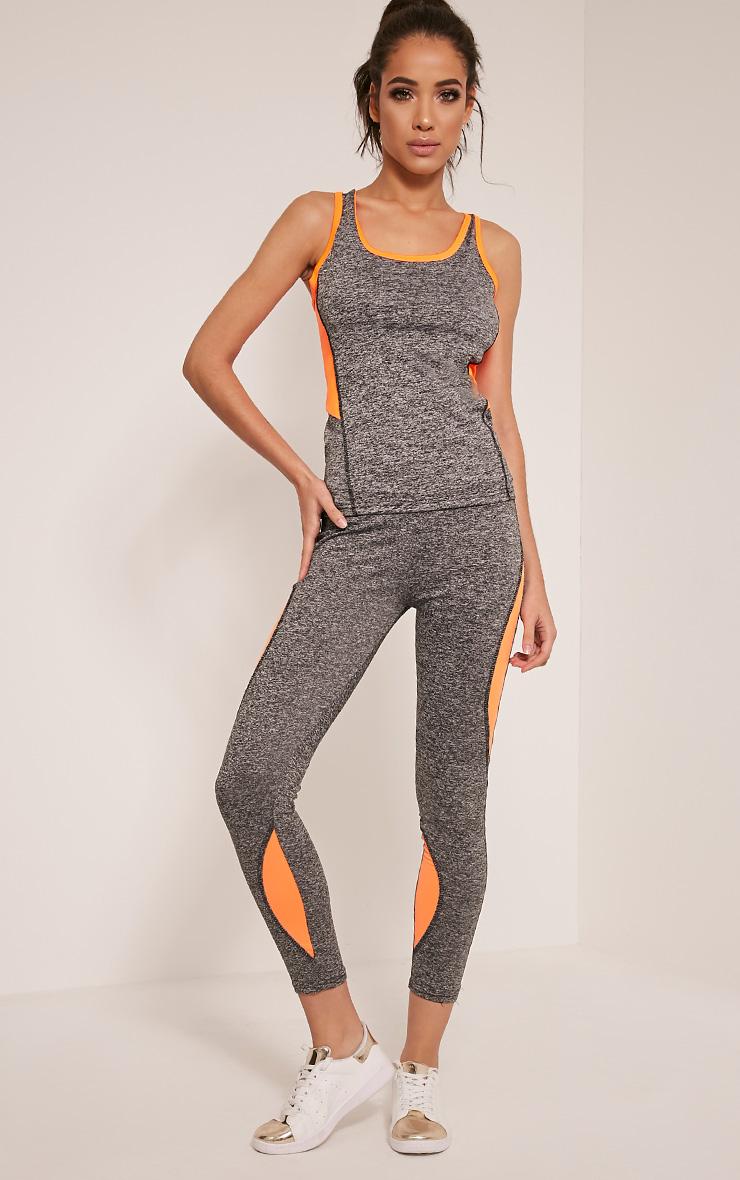 Jennie Orange Panel Detail Gym Leggings