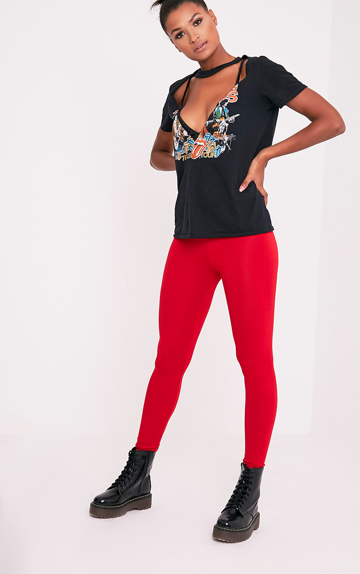 Basic Red High Waisted Jersey Leggings
