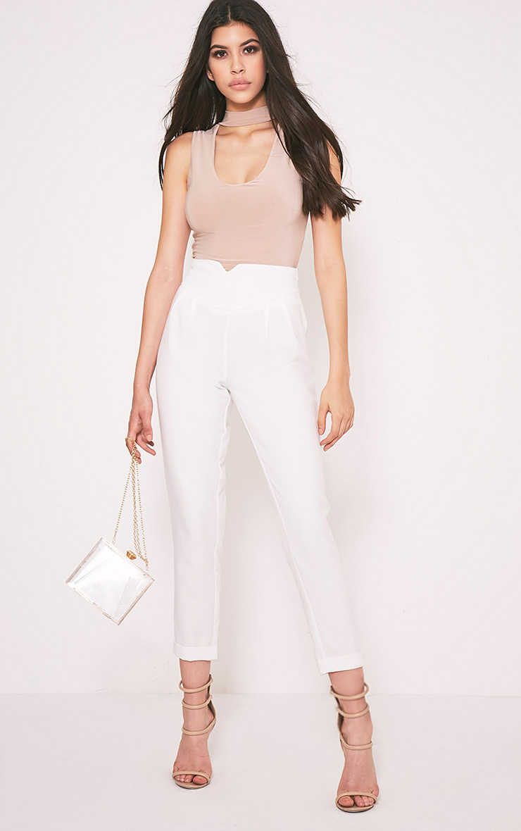 Elenor White High Waisted Tapered Trousers