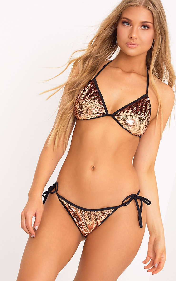 Caroline Bronze Sequin Triangle Bikini Top
