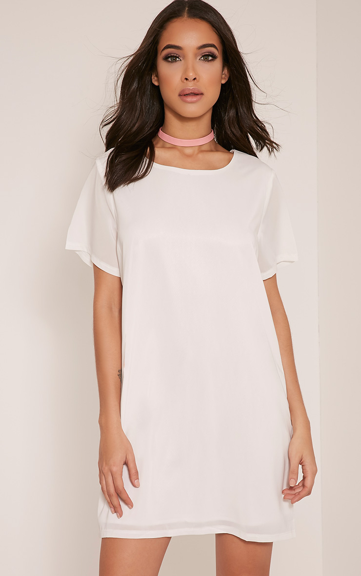 Abella Cream Crepe Shift Dress