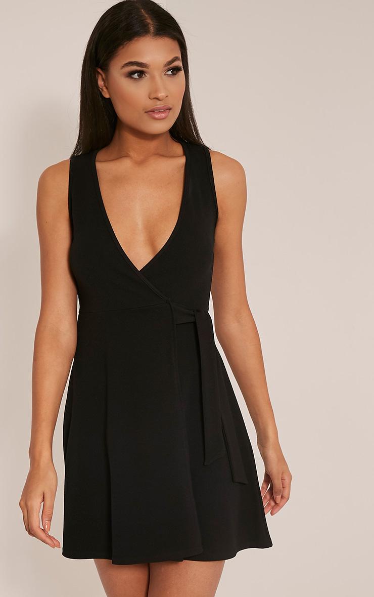 Tassia Black Tie Waist Skater Dress
