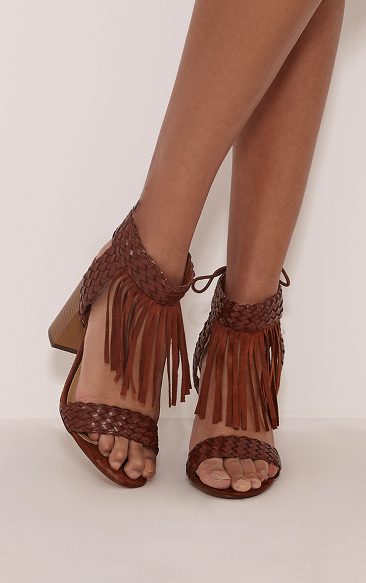 Kelli Tan Fringed Heeled Sandals