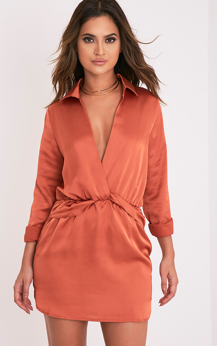 Katalea Tobacco Twist Front Silky Shirt Dress