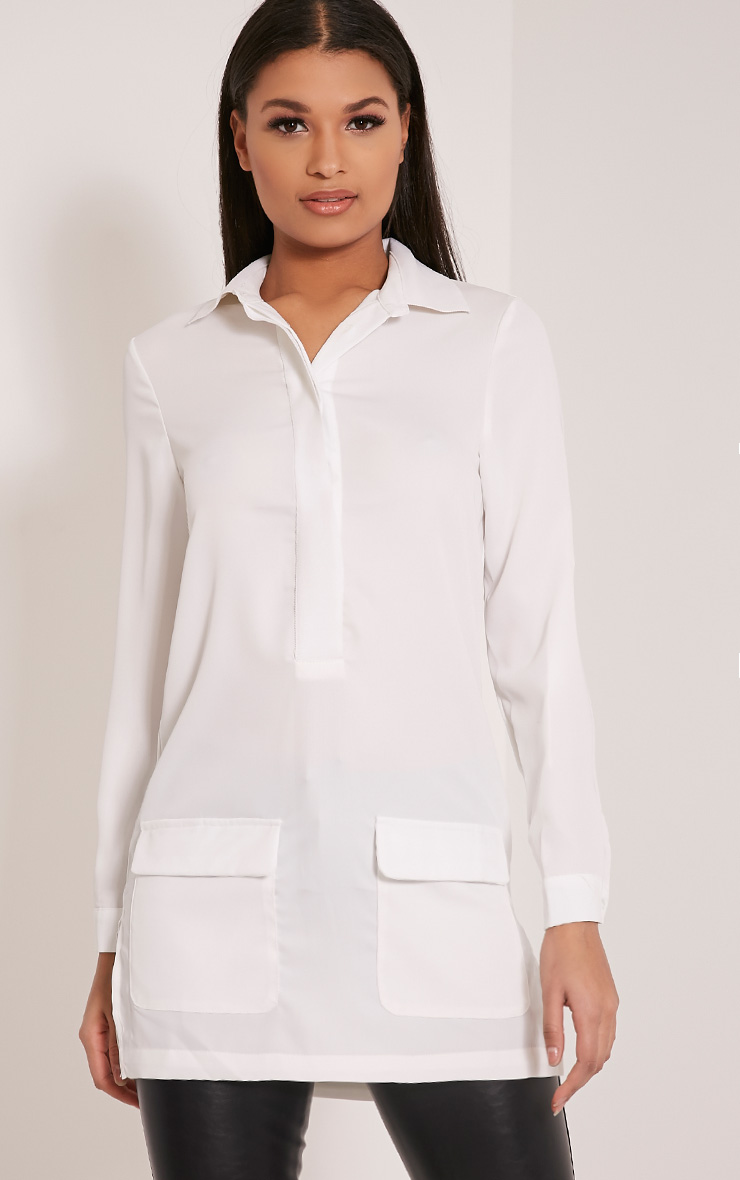 Hana White Pocket Detail Oversized Longline Shirt