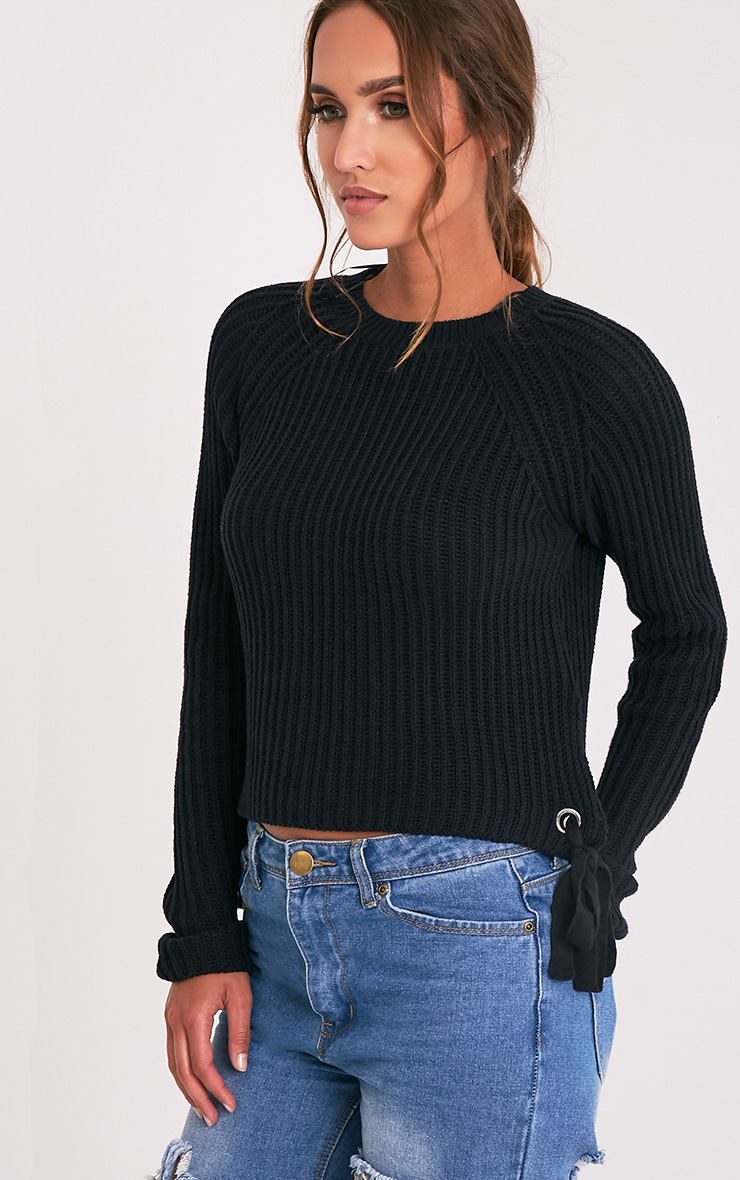 Tanae Black Lace Up Side Crop Jumper