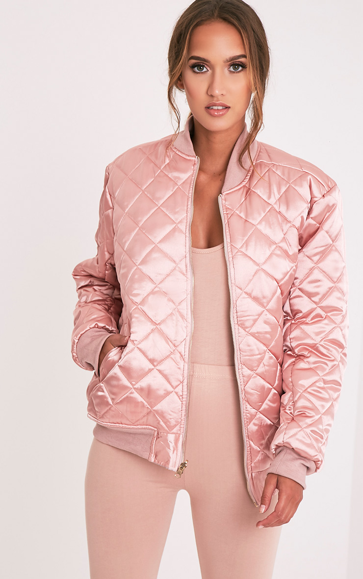 Wiktoria Mauve Satin Reversible Quilted Bomber