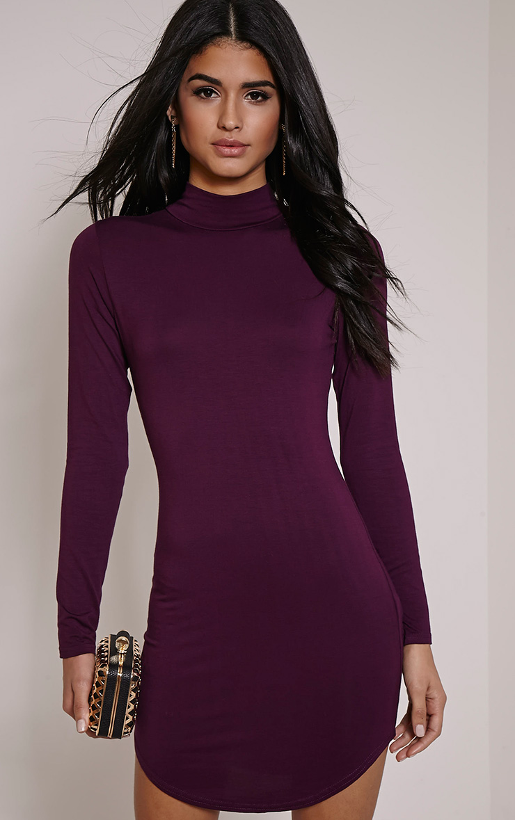 Alby Plum Curve Hem High Neck Dress
