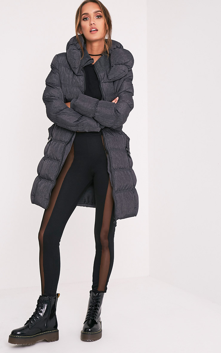 Shawn Grey Belted Padded Coat