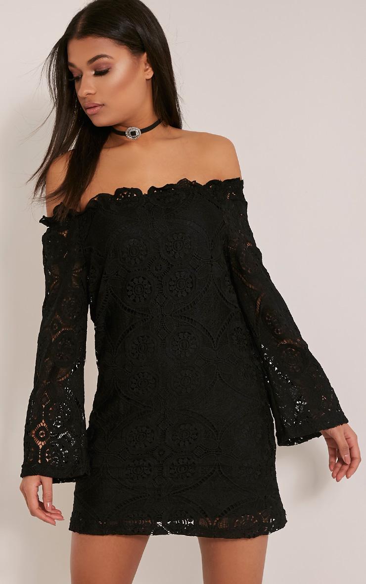 Gracie Black Bardot Lace Swing Dress