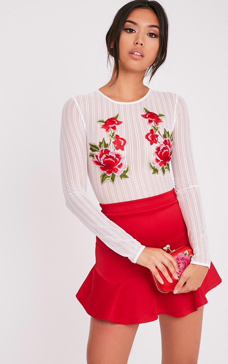 Evadine White Rose Applique Mesh Thong Bodysuit
