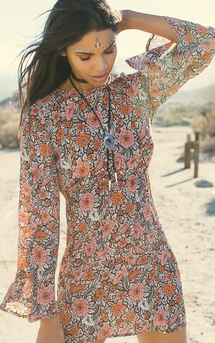 Nadya Floral Print Open Back Skater Dress