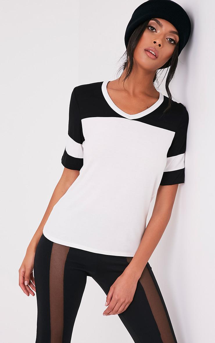 Melita Cream Colourblock V Neck Jersey T Shirt