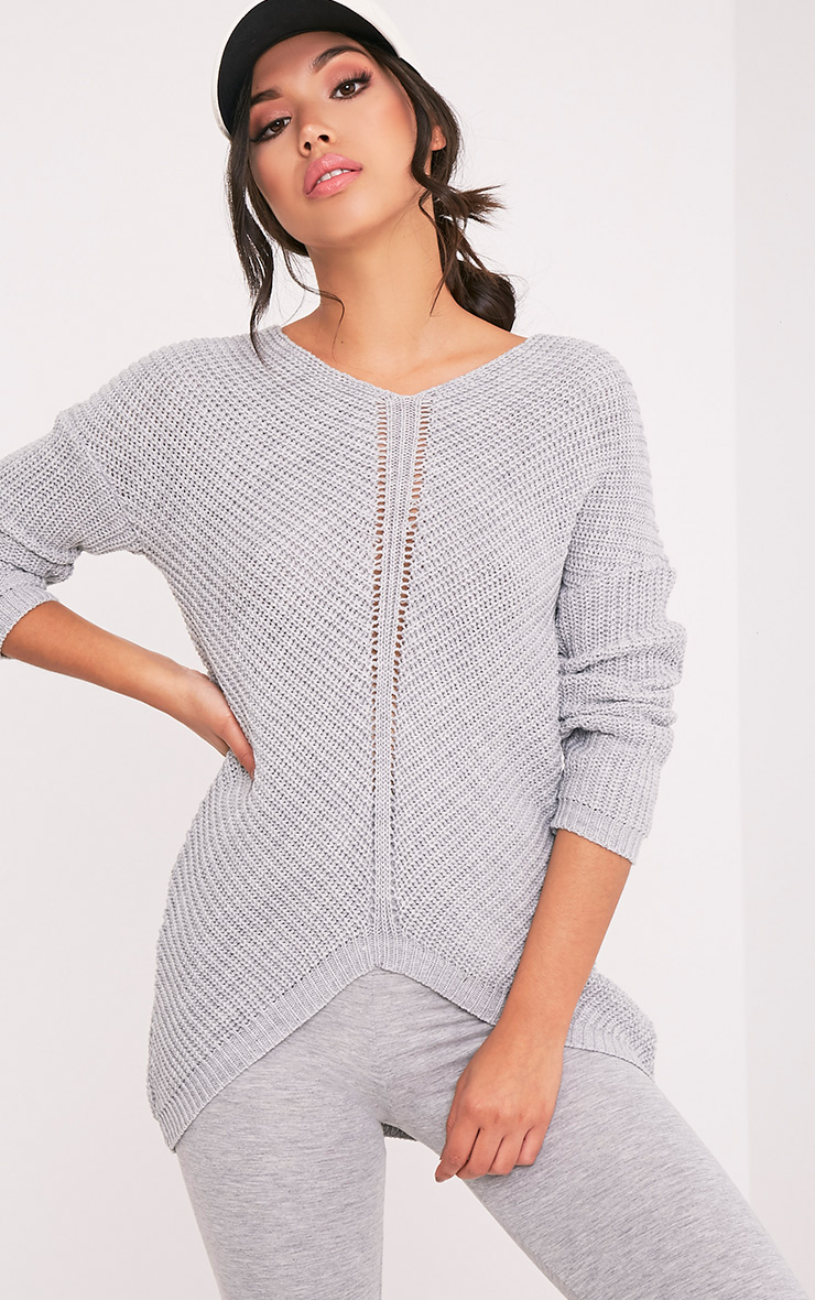Hollilia Grey V Hem Jumper