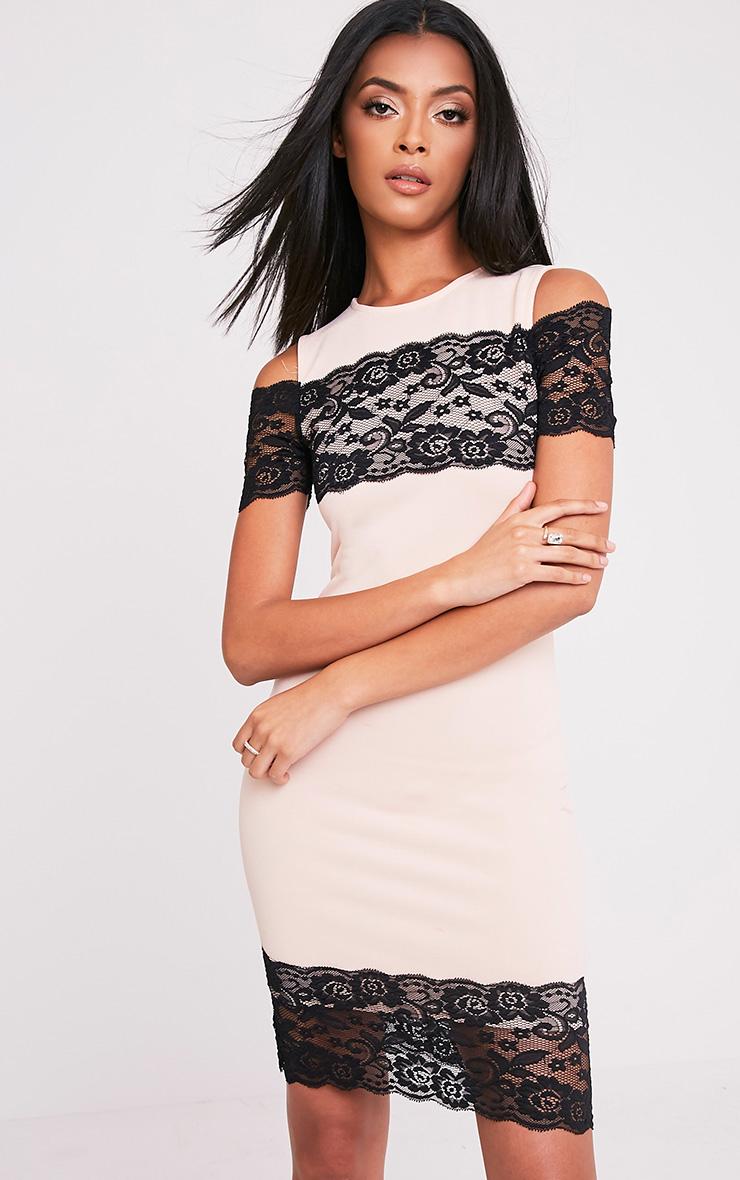 Kayra Nude Lace Trim Cold Shoulder Midi Dress