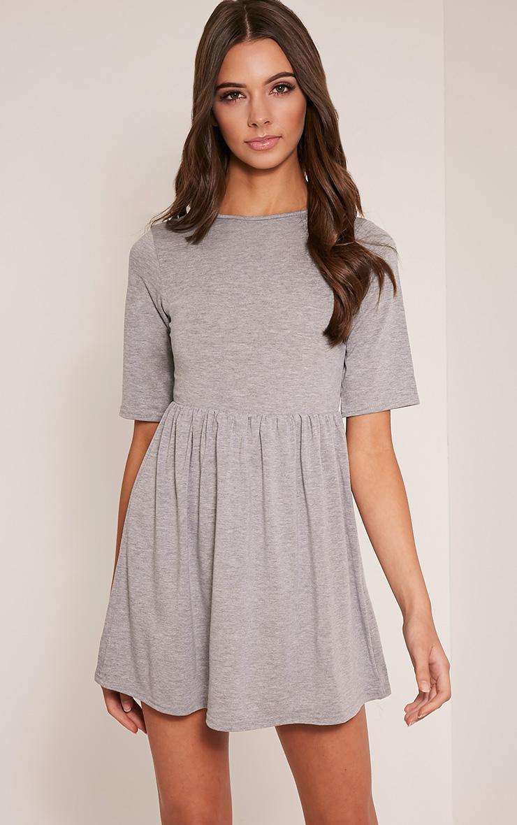 Petite Basic Grey 3/4 Scoop Back Jersey Skater Dress