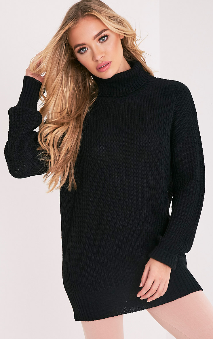 Zora Black Oversized Turtle Neck Knitted Jumper