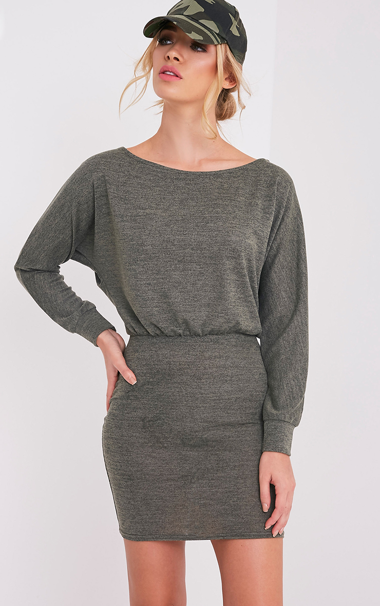 Lerie Khaki Waist Fitted Knit Dress
