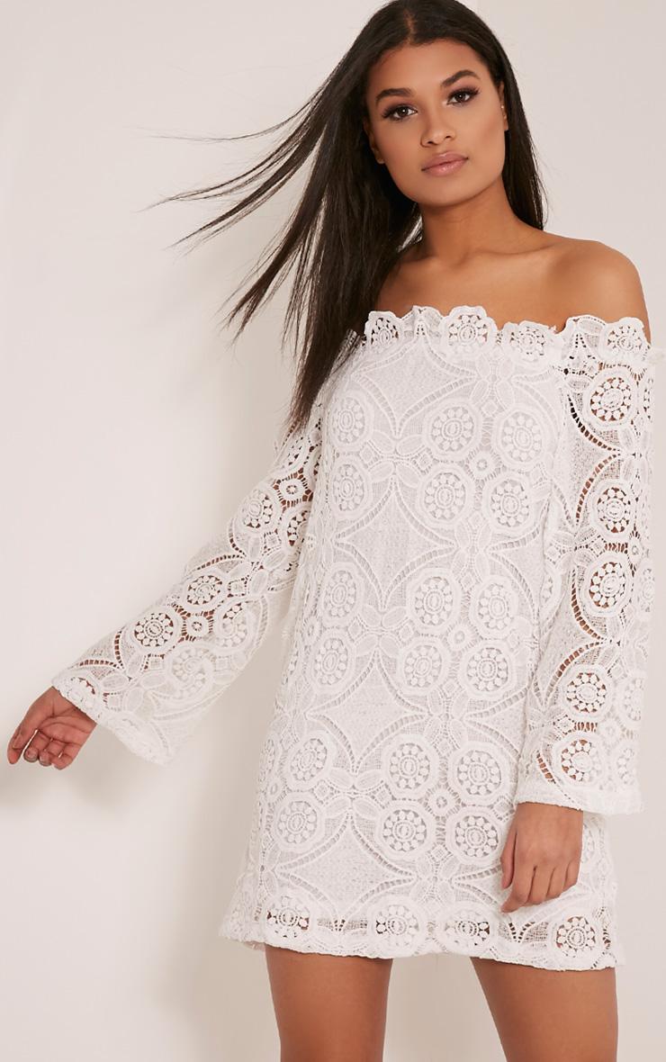 Gracie White Bardot Lace Swing Dress