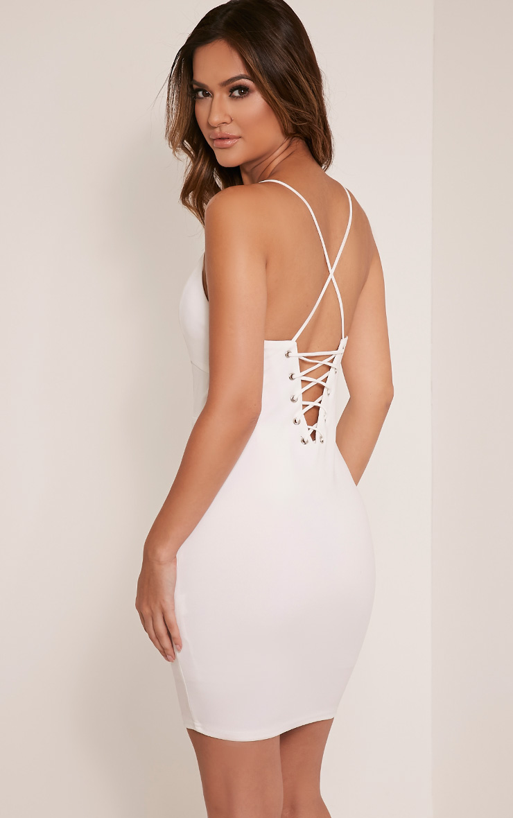 Mellia Cream Plunge Bodycon Dress