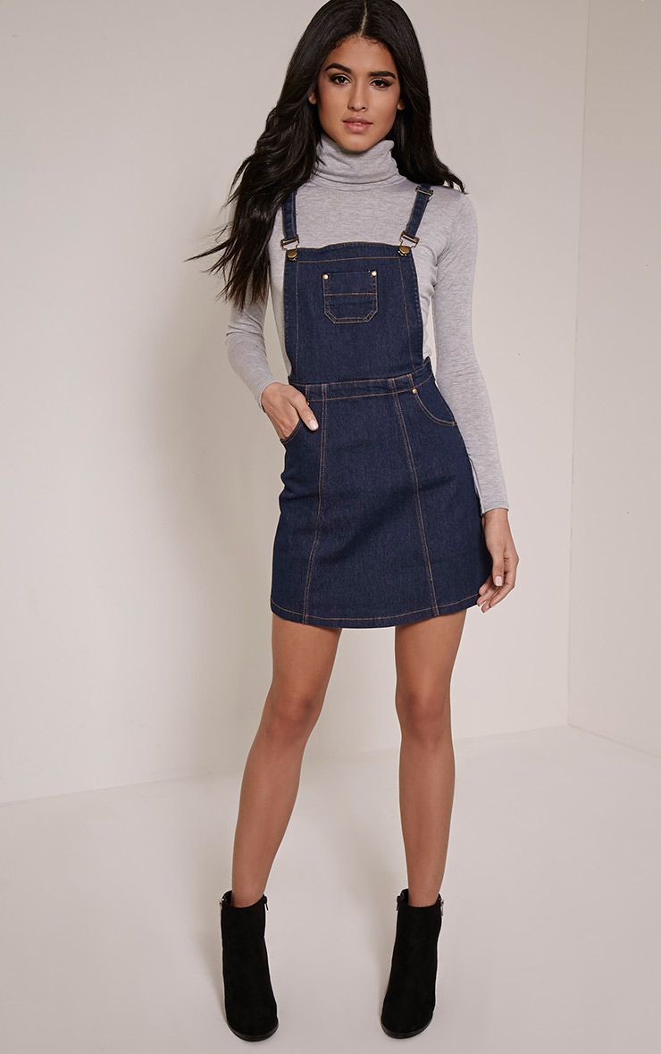Martine Indigo Blue Denim Pinafore Dress