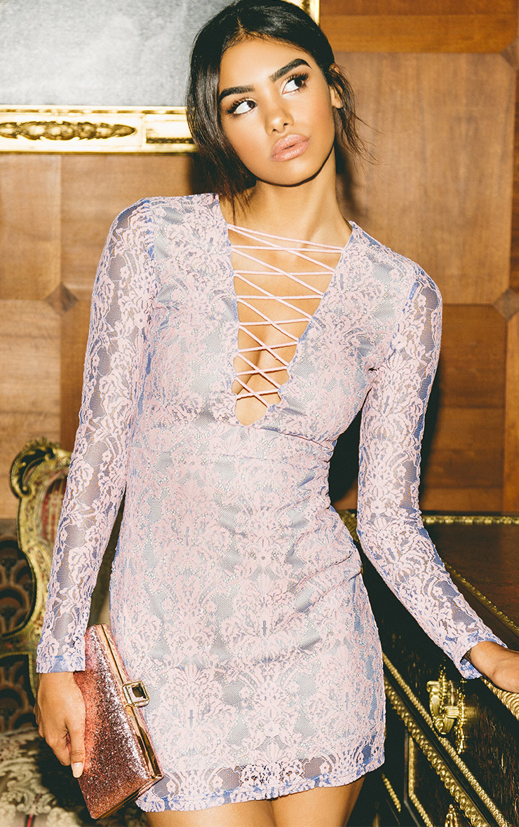 Erina Purple Lace Up Bodycon Dress
