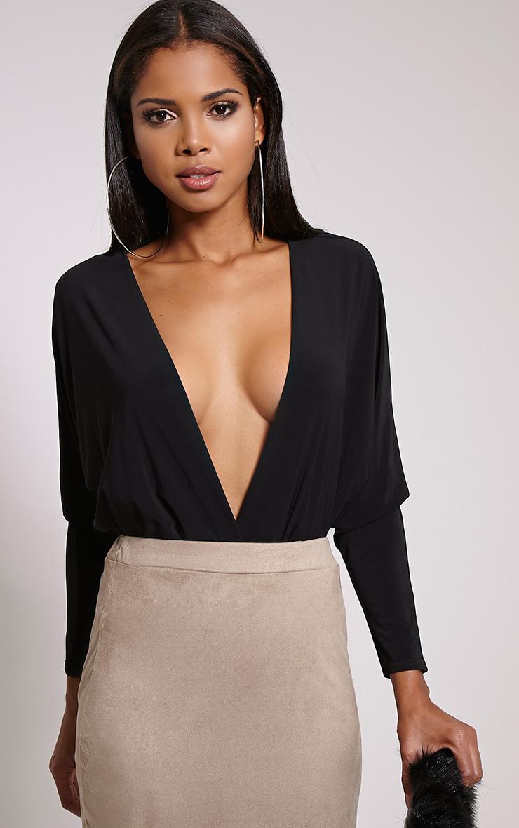 Adelle Black Thong Long Sleeve Deep Plunge Bodysuit