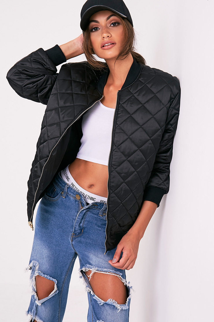 Wiktoria Black Satin Reversible Quilted Bomber