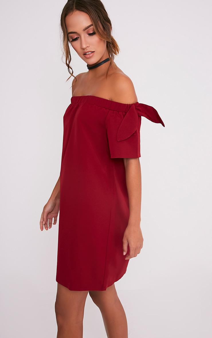 Cayla Burgundy Crepe Bardot Swing Dress